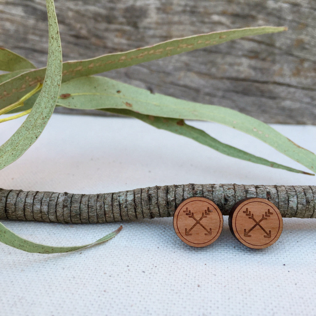 Arrow tribal wooden stud earrings