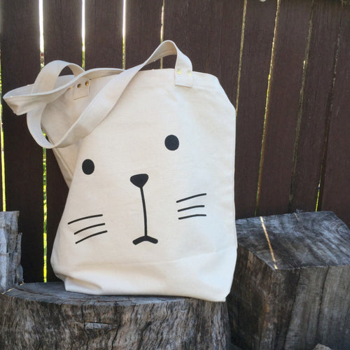 Cat face with whiskers cotton tote bag