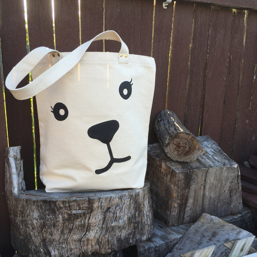 Bear face cotton tote bag