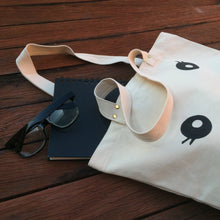 Animal face cotton tote bag