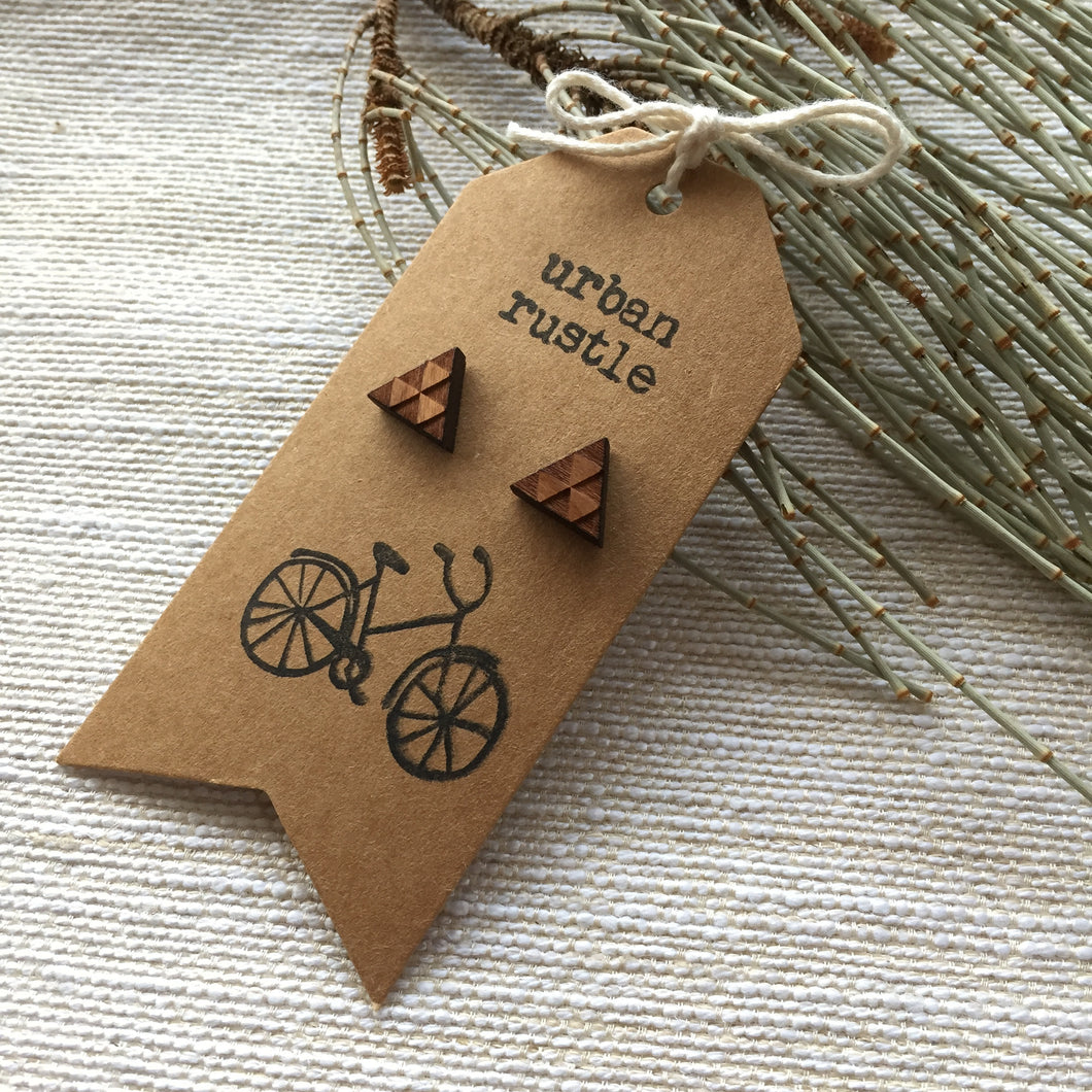 Triangle wooden stud earrings