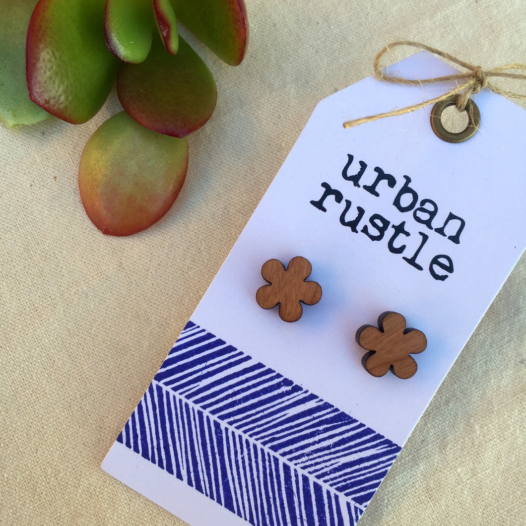 Flower wooden stud earrings