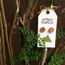 Tribal heart wooden stud earrings