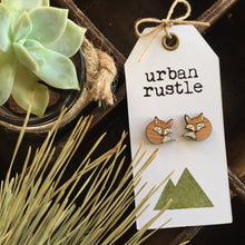 Natural wood and white fox earrings