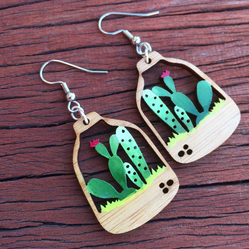 Succulent wooden drop earrings