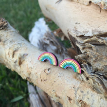 Rainbow wooden stud earrings