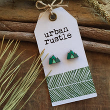 Green mountain landscape wooden stud earrings