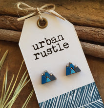 Blue mountain wooden stud earrings