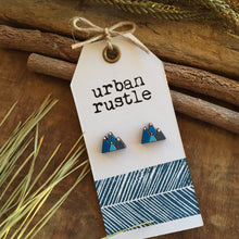 Blue mountain wooden stud earrings on rustic white card