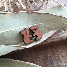Au Naturel Brown Koala wooden stud earrings