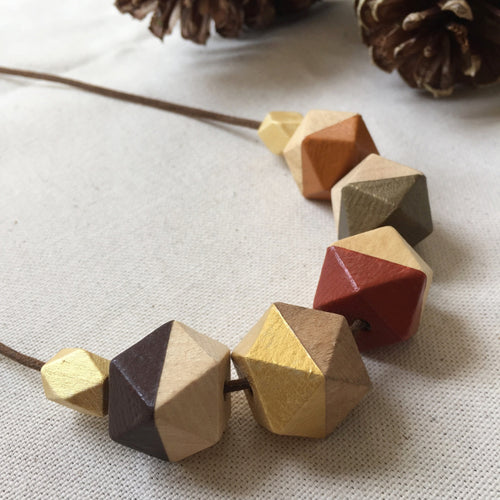 Red orange gold wooden geometric necklace