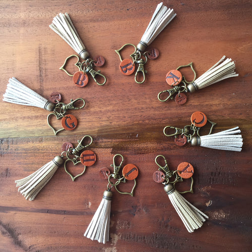 Monogrammed leather tassel keychain