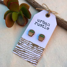 Succulent wooden jewelry earrings