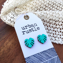 Metallic green monstera leaf wooden stud earrings