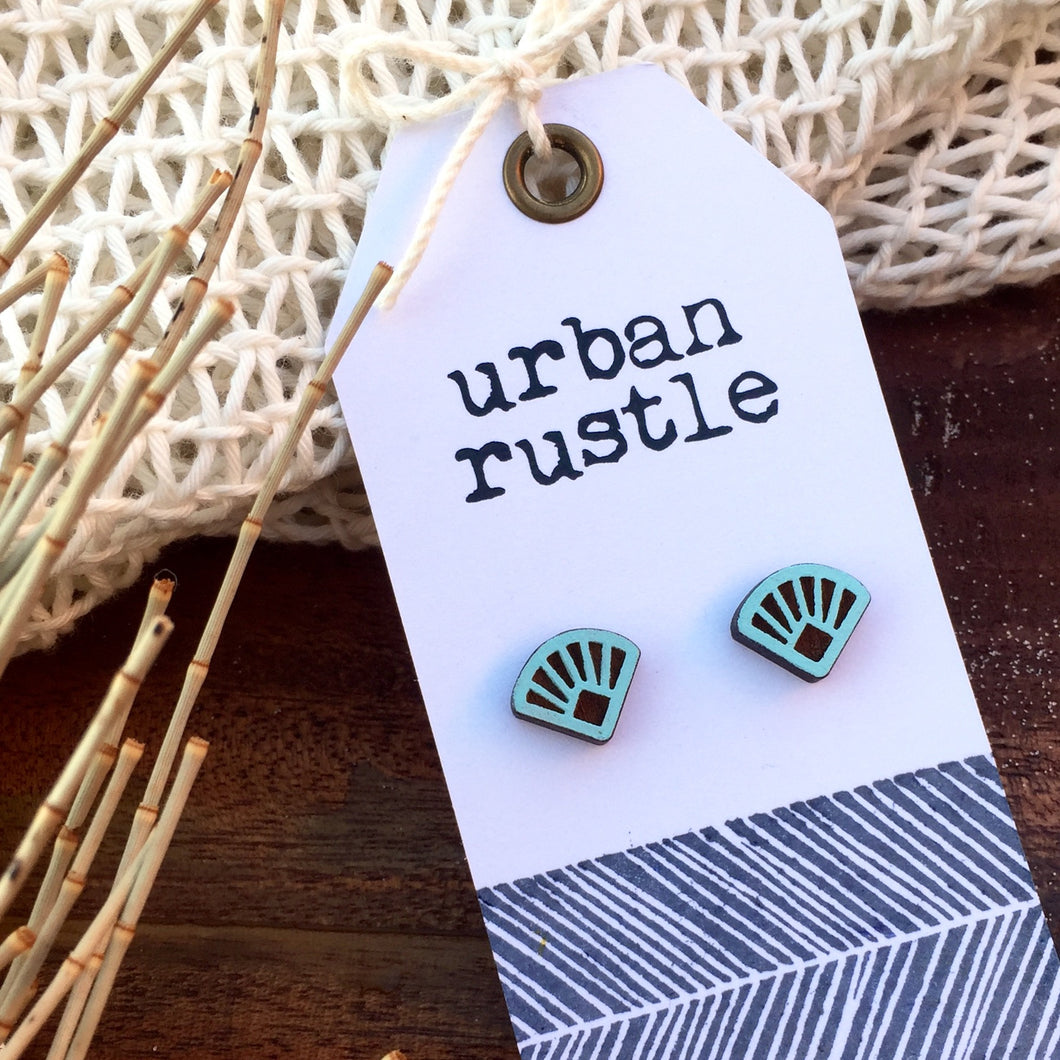 Blue art deco fan wooden stud earrings