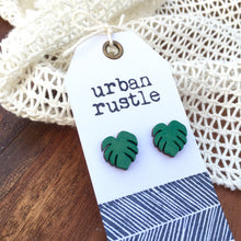 Lush green monstera leaf wooden stud earrings