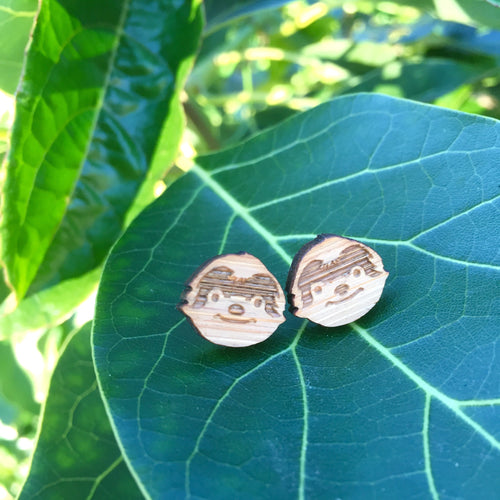Sloth wooden stud earrings in wild