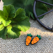 Orange carrot wooden stud earrings
