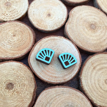 Blue art deco wooden stud earrings