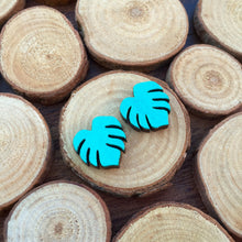 Metallic Monstera leaf wooden stud earrings