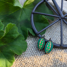 Green Bean wooden stud earrings