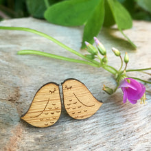Chubby wooden engraved bird stud earrings