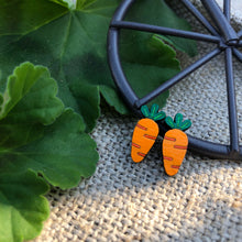 Carrot vegetable wooden stud earrings
