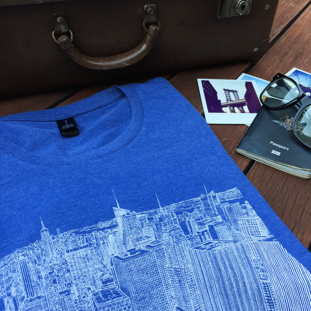 New York skyline print blue T shirt