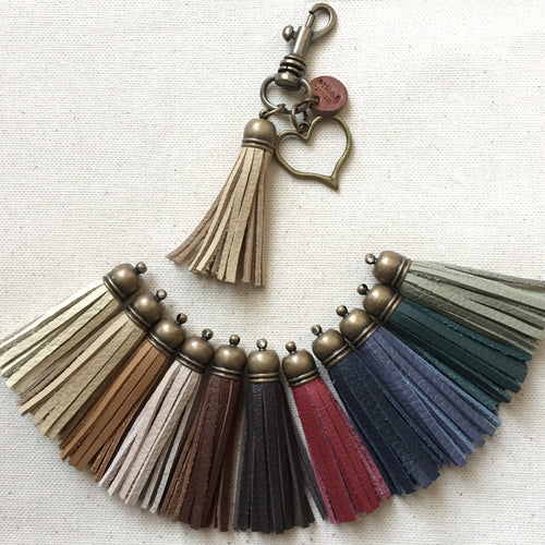 Leather tassel keychains with antique bronze heart charm