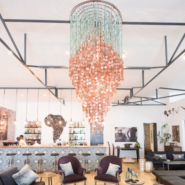 A Little Morocco, Glass and Copper Chandelier Styled