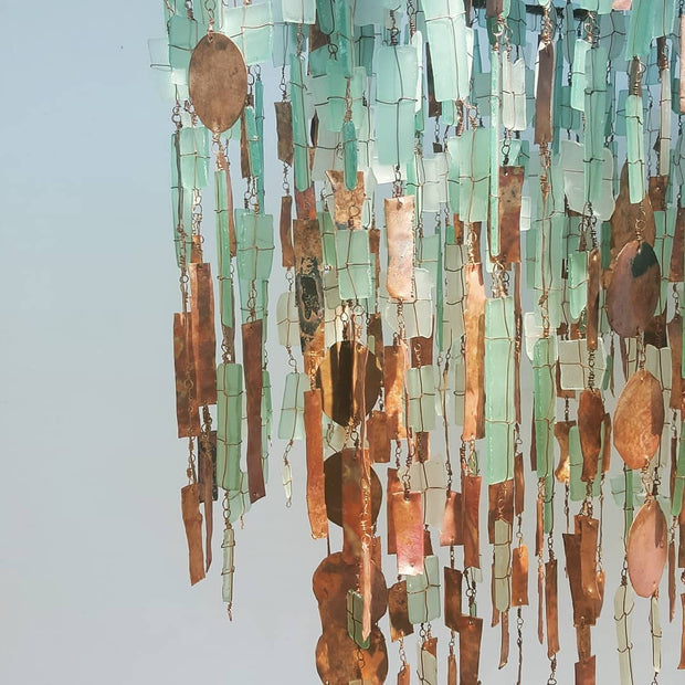 Malawi Tumbled Glass and Copper Chandelier - Oval