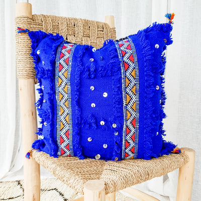 A Little Morocco, Handira Cushion Blue Lines Front