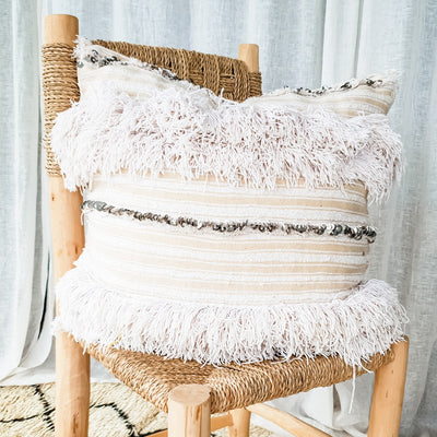 A Little Morocco, Handira Cushion Ivory King Front