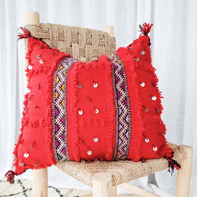 A Little Morocco, Handira Cushion Red Lines Front