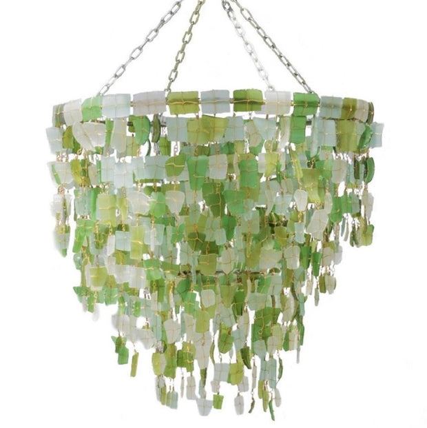 A Little Morocco, Glass Chandelier 50cm Green