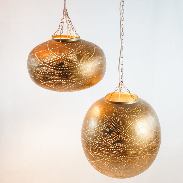 A Little Morocco, Moroccan Pendant Light Shade Lattice Sphere Lit Up