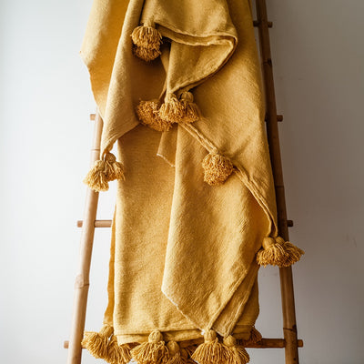 A Little Morocco, Moroccan Pompom Blanket - Mustard Large Front