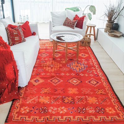A Little Morocco, Vintage Moroccan Rug Rose Garden - Styled