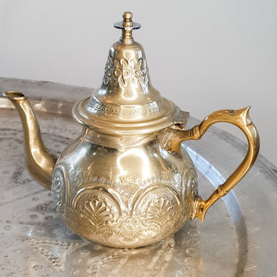 "A Little Morocco - Moroccan Vintage Teapot - ""Silver Fanfare"" Large Front"