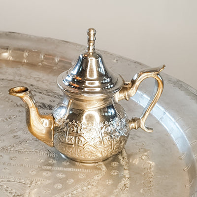 A Little Morocco Vintage Teapot Silver Rim Small Front