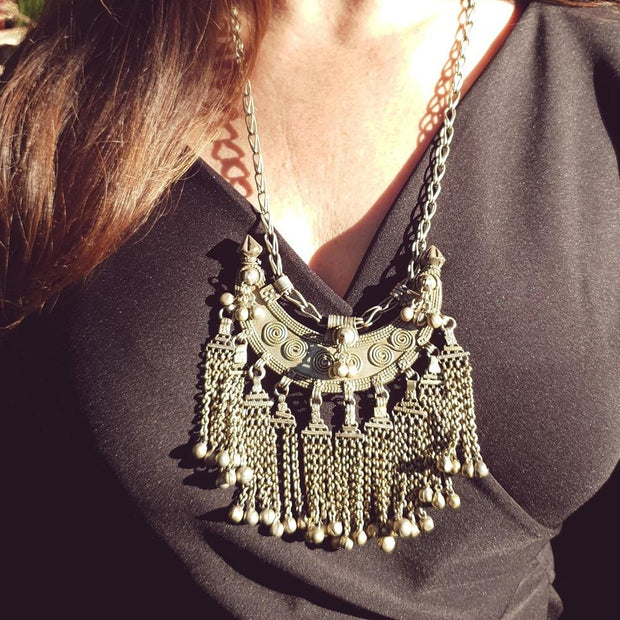 A Little Morocco Bedouin Vintage Crescent Necklace Styled
