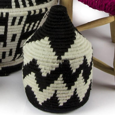 Berber Basket - Black 'n White 15x23cm-Berber Basket-A Little Morocco