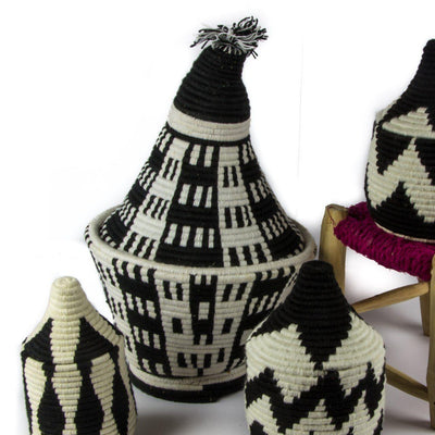Berber Basket - Black n' White 28x47cm-Berber Basket-A Little Morocco