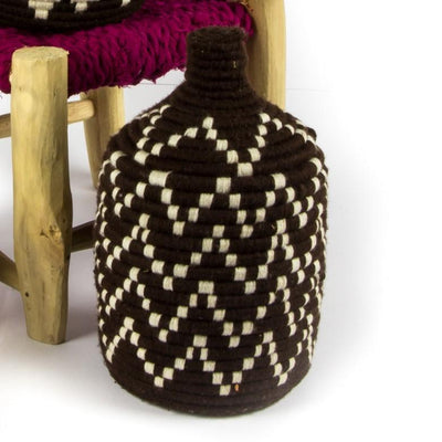 Berber Basket - Brown n' Cream 15x25cm-Berber Basket-A Little Morocco