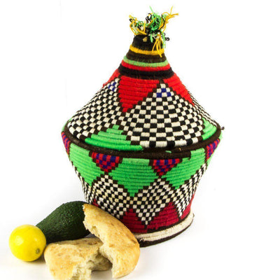 Berber Basket - Green n' Red 27x33cm-Berber Basket-A Little Morocco