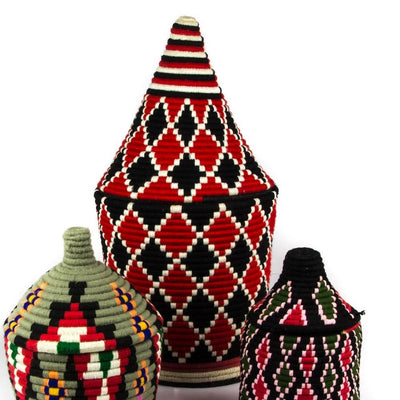A Little Morocco, Berber Basket - Large Black and Red single