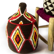 A Little Morocco, Berber Basket - Medium Brown and Red Single