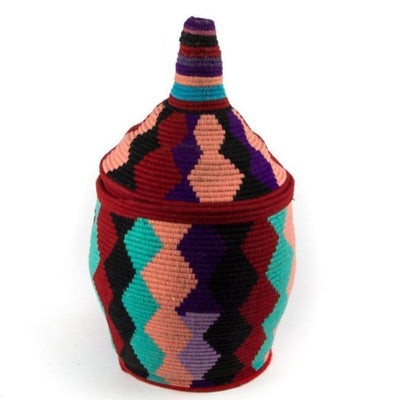 Berber Basket - Teal n' Peach 24x43cm-Berber Basket-A Little Morocco