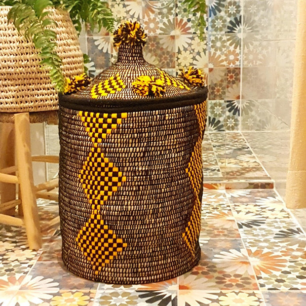 Berber Laundry Basket - Yellow n' Black 65x45cm-Berber Basket-A Little Morocco