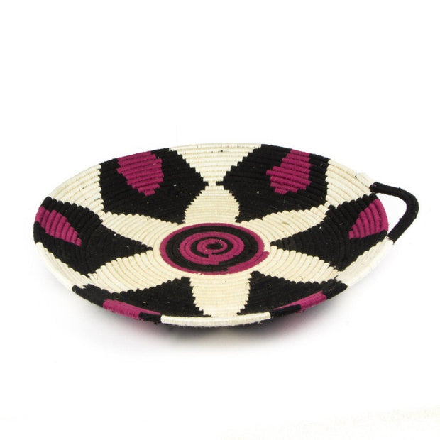 Berber Platter - Black Purple n' White 45cm-Berber Basket-A Little Morocco